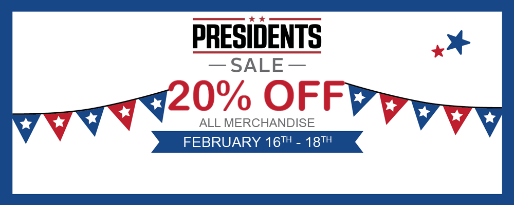 20% off all merchandise feb 16 to 18