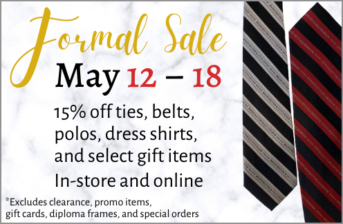 Save 15% on ties, belts, polos, dress shirts, and select gift items through 5/18