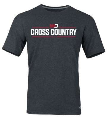 Image For RUSSELL BLACK HEATHER CROSS COUNTRY T-SHIRT (S to XL)