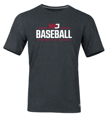 Image For RUSSELL BLACK HEATHER BASEBALL T-SHIRT (S to XL)