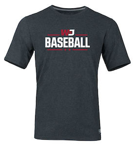 Image For RUSSELL BLACK HEATHER BASEBALL T-SHIRT 2XL